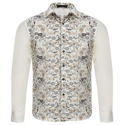 Floral Print Slim Fit Patchwork Male Long Sleeve Shirt