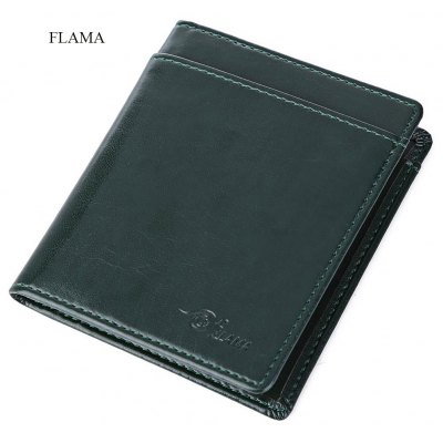 FLAMA Solid Color Letter Coining Open Vertical Thin Wallet for Unisex