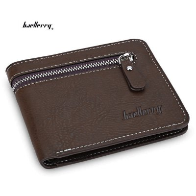 Baellerry Open Zipper Letter Embellishment Men Short Wallet