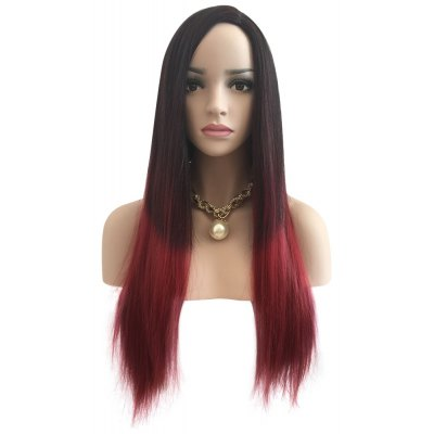 Long Straight Ombre Gradient Matte Black Red Full Wigs