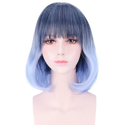 45CM Cute Harajuku Medium Gradient Light Blue Wavy Wigs