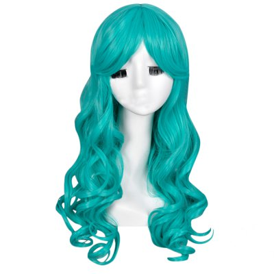 Women Long Curly Green Wigs Anime Cosplay