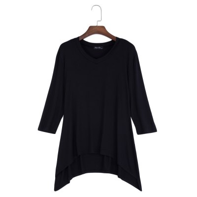 V-Neck Solid Color Asymmetrical Women T-Shirt