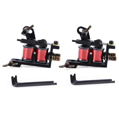 2pcs Black Pig Iron Handmade Coils Tattoo Machine Guns