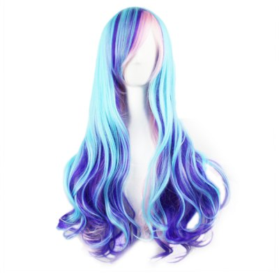 Harajuku Ombre Gradient Blue Pink Wavy Long Full Wigs