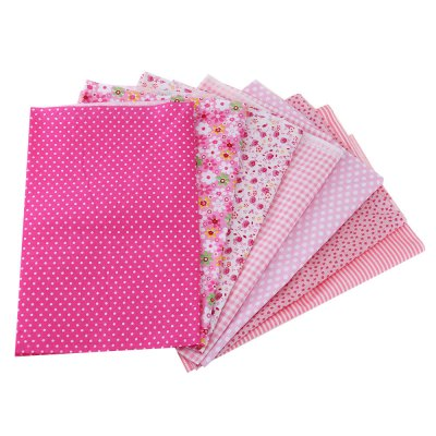 50 x 50CM 7pcs Handmade Patchwork Pink Fabric Cotton Cloth