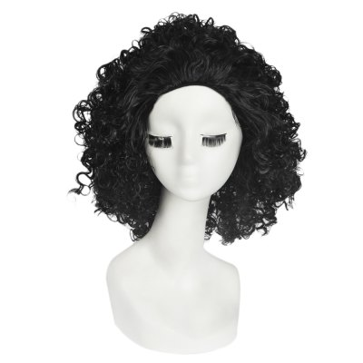Trendy Heat Resistant Synthetic Long Curly Black Afro Wigs