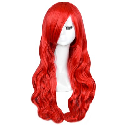 65CM Long Big Curly Wavy Red Wigs Heat Resistant Hair