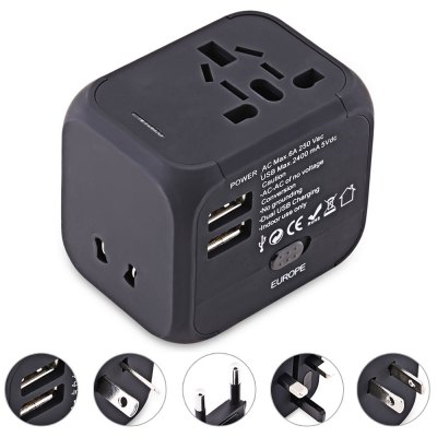 HHT150 Universal Travel Plug Dual USB Port Wall Charging Converter