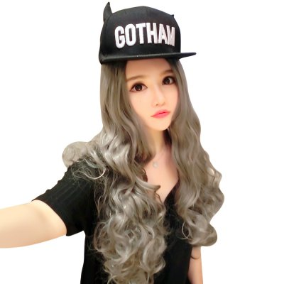Women Ombre Long Grandma Gray Curly Big Wavy Carved Wigs