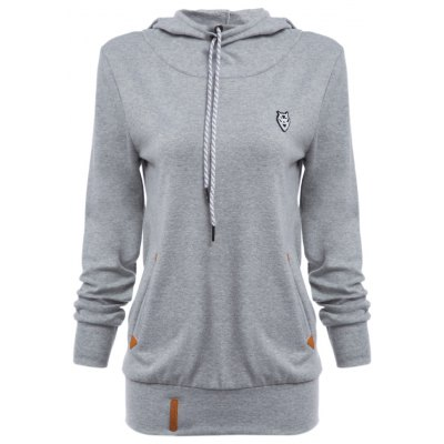 Chic Hooded Long Sleeve Pocket Design Embroidered Ladies Hoodie