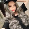 cheap Women Ombre Long Grandma Gray Curly Big Wavy Carved Wigs