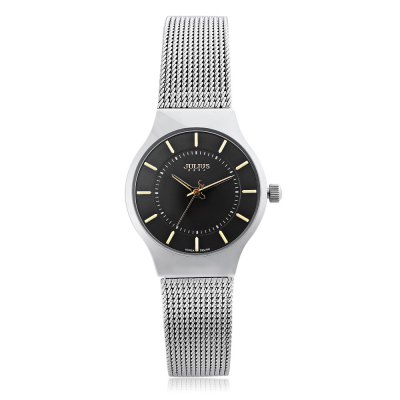 Julius JA - 577 Ladies Analog Quartz WatchCouples Watches<br>Julius JA - 577 Ladies Analog Quartz Watch<br><br>Brand: Julius<br>Watches categories: Female table<br>Available color: Black,White<br>Style: Ultrathin<br>Movement type: Quartz watch<br>Shape of the dial: Round<br>Display type: Analog<br>Case material: Alloy<br>Band material: Stainless Steel<br>Clasp type: Folding clasp with safety<br>Band color: Silver<br>Water resistance : 30 meters<br>The dial thickness: 0.6 cm / 0.24 inches<br>The dial diameter: 2.5 cm / 0.98 inches<br>The band width: 1.2 cm / 0.47 inches<br>Wearable length: 16 - 20.8 cm / 6.30 - 8.19 inches<br>Product weight: 0.035 kg<br>Package weight: 0.138 kg<br>Product size (L x W x H): 22.00 x 2.50 x 0.60 cm / 8.66 x 0.98 x 0.24 inches<br>Package size (L x W x H): 8.50 x 8.50 x 7.00 cm / 3.35 x 3.35 x 2.76 inches<br>Package Contents: 1 x Julius JA - 577 Ladies Ultrathin Dial Analog Quartz Watch