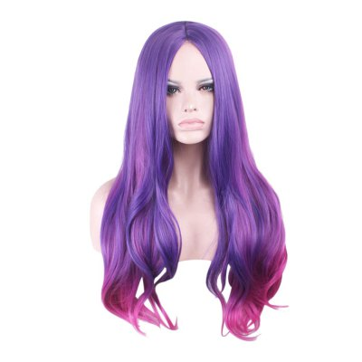 Harajuku Ombre Gradient Multicolor Wavy Long Full Wigs
