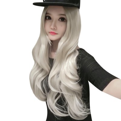 70CM Women Heat Resistant False Hair Long Wavy Blonde Wig