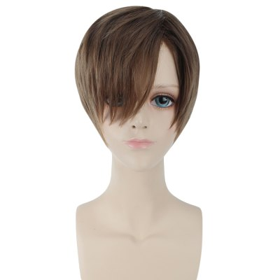 Men Handsome Side Bangs Short Natural Straight Toupee Wigs