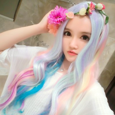 75CM Sweet Lovely Harajuku Gradient Multicolor Carved Wigs
