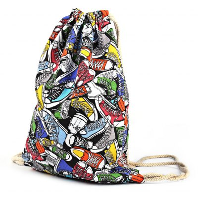 Canvas Gym Shoe Pattern Beam Mouth Backpack