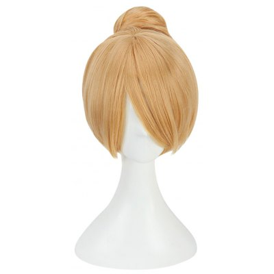 30CM Blonde Cosplay Wigs Synthetic Bun Hair Party Costume