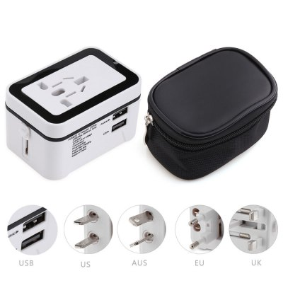 Travel Plug Dual USB Port Wall Charging Converter Storage Bag