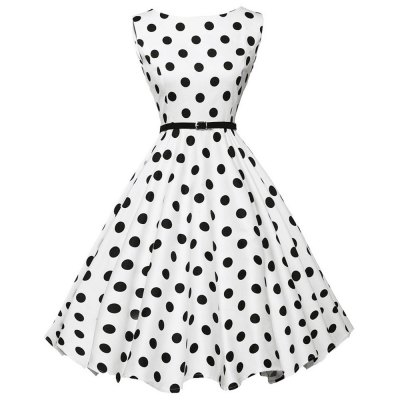Round Collar Sleeveless Zipper Polka Dot Print A-line Women Ball Gown Dress with Belt
