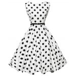 Vintage Polka Dot Print A-line Women Ball Gown Dress