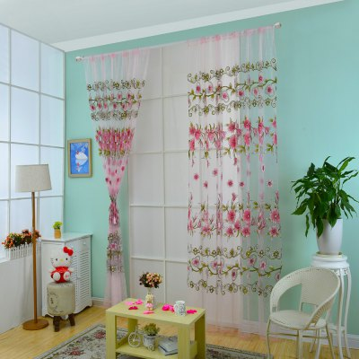 1 x 2m Floral Printed Sheer Window Curtain