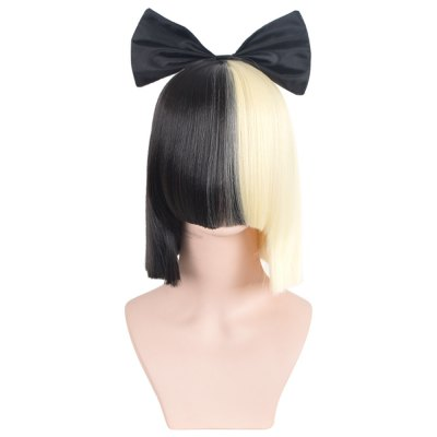 Women Short Neat Straight Half Blonde Black Cosplay Wigs with Bow Covering Face Hairstyle