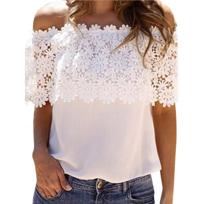 Boat Neck Sleeveless Lace Patchwork Hollow Out Pure Color Chiffon Women T-shirt