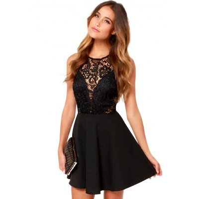 Sexy Round Collar Sleeveless Backless Lace Patchwork Design Women Ball Gown Dress