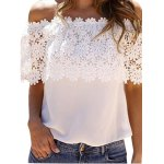 cheap Sweet Boat Neck Sleeveless Lace Patchwork Hollow Out Pure Color Chiffon Women T-shirt