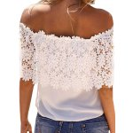 Sweet Boat Neck Sleeveless Lace Patchwork Hollow Out Pure Color Chiffon Women T-shirt deal