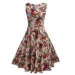 Vintage Round Collar Sleeveless Back Zipper Bowtie Lace-up Floral Print Mid-calf Women A-line Dress photo