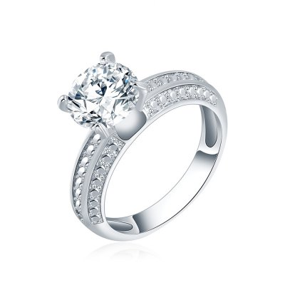 Zircon Platinum Plated Wedding Party Ring