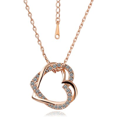 Cross Hollow Heart Czech Stone Rose Gold Plated Necklace