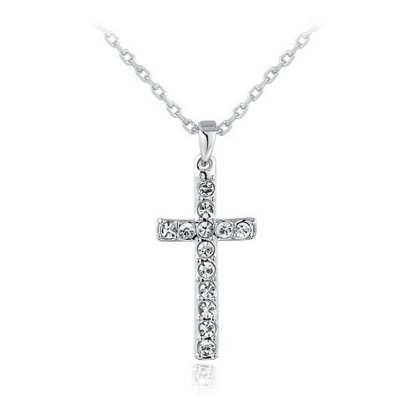 Cross Czech Stone Three Times Plating Tin Alloy Necklace
