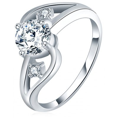 Twist Hollow Zircon Crystal Diamond Platinum Plated Ring
