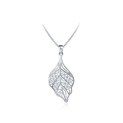 Leaf Shape Pendant Hollow Platinum Plated Copper Necklace