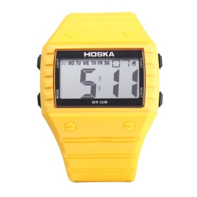 HOSKA H033B Children Digital WatchKids Watches<br>HOSKA H033B Children Digital Watch<br><br>Band Length: 8.86 inch<br>Band Material Type: Silicone<br>Band Width: 28mm<br>Case material: Plastic<br>Case Shape: Rectangle<br>Clasp type: Pin Buckle<br>Dial Diameter: 1.42 inch<br>Dial Display: Digital<br>Dial Window Material Type: Plastic<br>Feature: Alarm,Back Light,Chronograph,Day,Led Display<br>Gender: Children<br>Movement: Digital<br>Style: Sport<br>Water Resistance Depth: 50m<br>Product weight: 0.054 kg<br>Package weight: 0.075 kg<br>Product Size(L x W x H): 25.00 x 5.00 x 1.00 cm / 9.84 x 1.97 x 0.39 inches<br>Package Size(L x W x H): 26.00 x 6.00 x 2.00 cm / 10.24 x 2.36 x 0.79 inches<br>Package Contents: 1 x HOSKA H033B Children Sports Digital Watch