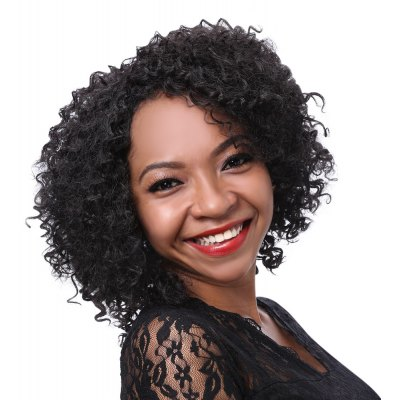 Women Fluffy Kinky Curly Natural Black Medium Synthetic Wigs