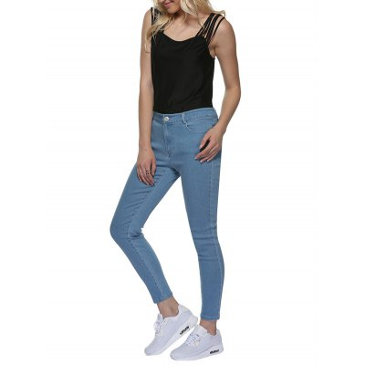 Women Chic Mid Waist Skinny Denim Pants