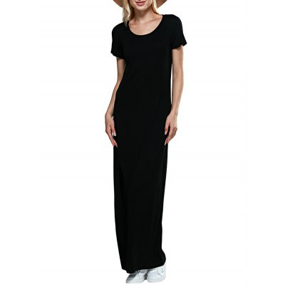 Round Collar Short Sleeve Black Women Slit Dress