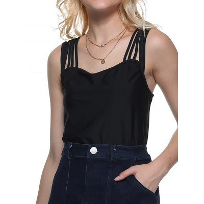 Women Sexy Square Neck Cut Out Solid Color Tank Top
