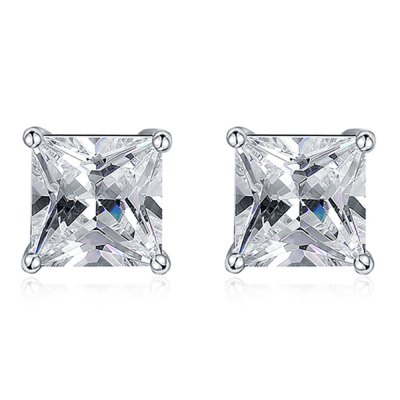 Square Rhinestone Zircon Copper Platinum Plated Stud Earrings