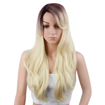 Women Medium Gradient Mixed Color Slightly Curly Wigs