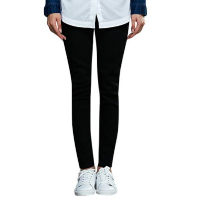 Women Chic Mid Waist Solid Color Skinny Pants
