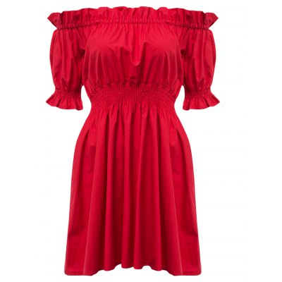 Trendy Off The Shoulder Pleated A-line Women Dress