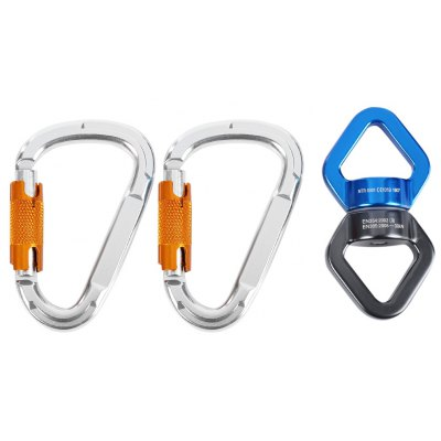 Outdoor Survival Swivel Connector 2pcs D-shaped Carabiner