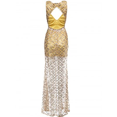 Women Plunging Neck Sequins Cut out Sheathy Slit Party Dress