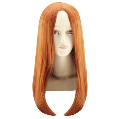 Ombre Medium Straight Central Parting Orange Wigs Heat Resistant Synthetic Hair for Cosplay